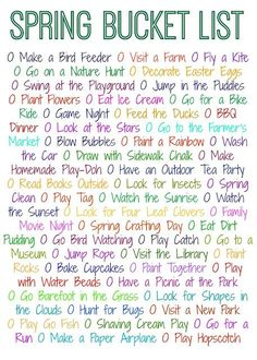 Spring Bucket List.  50 Things to Do This Spring (Free Printable)    Spring Activities & Crafts for Families and Kids. #SummerBucketList