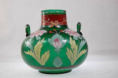 Vintage Bohemian satin green glass and enamel 2-handled vase by Fritz Heckert, c. 1900