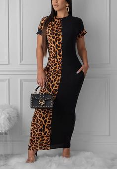 Lovely Casual Leopard Printed Patchwork Croci Ankle Length Dress We Offer Top Good Quality Cheap Clothes For Women And Men Clothing Wholesaler, Get Affordable Clothing At Worldwide. Purple Mini Dresses, White Mini Dress, Estilo Fashion, Ideias Fashion, Maxi Dress With Slit, Bodycon Dress, Animal Print Maxi Dresses, Cheap Dresses Online, Dress Online