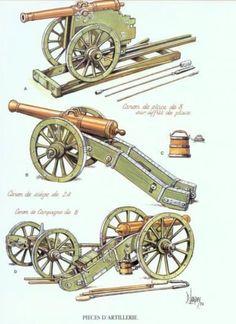 Cannoni francese da 8 libbre (in alto e in basso) e da 24 libbre (al centro)