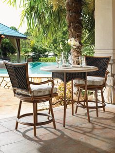 Island Estate Lanai Outdoor Woven Wicker Swivel Counter Stool With Cushion  Seat By Tommy Bahama Outdoor Living At Baeru0027s Furniture
