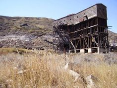 Canada's oldest coal tipple at the long abandoned Atlas Coal Mine east of Drumheller, Alberta, Canada. A National Historic Site.