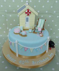 Beach Hut Cake Source by Beach Hut Cake, Beach Cakes, Gorgeous Cakes, Pretty Cakes, Amazing Cakes, Caravan Cake, Fondant, Beach Themed Cakes, Retirement Cakes