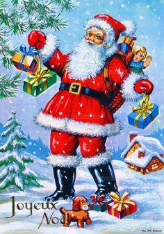 Joyeux Noël - Père Noël chargé de cadeaux dans un paysage de neige (from http://mercipourlacarte.com/picture?/1280/)