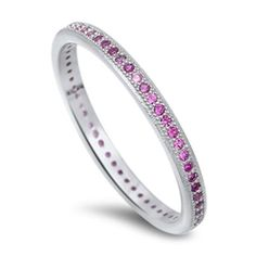 2MM Stackable Band Rhodium Over 925 Sterling Silver Round Pink Ruby Channel Setting Ladies Wedding Engagement Anniversary Ring Size 4-10