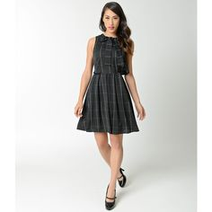 Vintage Style Black & White Windowpane Check Flare Dress ($50) ❤ liked on Polyvore featuring dresses, a line dress, 2 piece dress, flared dresses, black and white dress and circle skirts