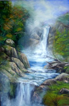 """Waterfall, Oil 24"""" x 36"""" This is not a real place, just me playing around. I love water so I tend to do a lot of waterfalls, beaches, lakes, etc.; etc."""