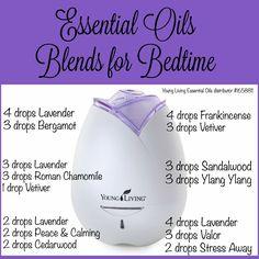 Nighttime essential oil blends for bedtime.