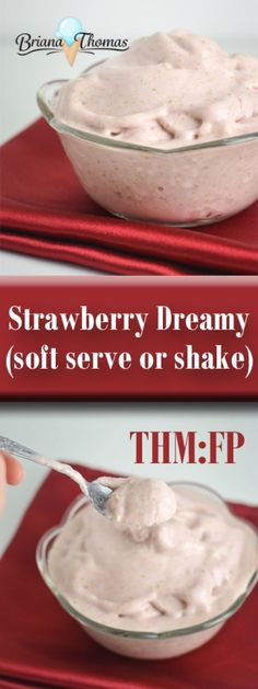 Strawberry Dreamy Soft Serve or Shake - THM:FP, low carb, low fat, sugar free, gluten free and egg free with nut free option (Quick Diet Low Carb) Sugar Free Desserts, Sugar Free Recipes, Low Carb Desserts, Healthy Desserts, Healthy Recipes, Healthy Moms, Healthy Drinks, Healthy Eating, Diabetic Snacks