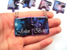 Excited to share the latest addition to my #etsy shop: Personalized Name Couple Pendant Galaxy Custom Initial Necklace Valentine Gift Idea Puzzle Pendant Set BFF Jewelry Epoxy PolymerClay Bijoux http://etsy.me/2DG0EM3 #jewelry #necklace #personalizenecklace #galaxyname