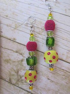 Yellow Polka Dot Earrings Green Earrings by BrownBeaverBeadery, $6.00