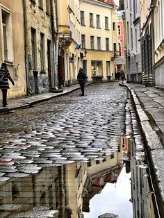 waterfalls from around the world   Tallinn, Tallinn, Estonia - A street in Tallinn after some rain...# ...