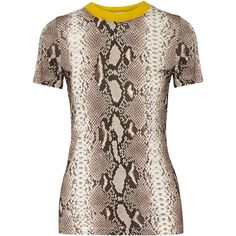 Carven - Snake-print Stretch-jersey T-shirt ($106) ❤ liked on Polyvore featuring tops, t-shirts, snake print, carven top, snake print top, brown tee, brown t shirt and carven t shirt