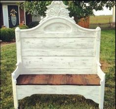 Bench made from headboard