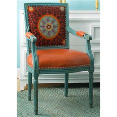 Suzani Arm Chair via Shades of Light. Embroidered upholstered fabric back, leather seat, painted frame. Love it!