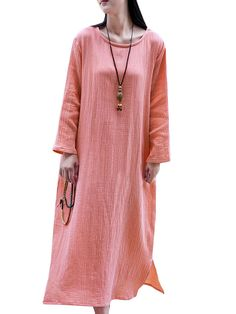 Vintage Loose Pure Color Soft Long Sleeve O Neck Women Dress Shopping Online - NewChic