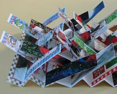 tutorial for a flag book - the single most influential structure in the world of contemporary bookmaking Basis: Papiertüten, gefaltet, mit kleinen rechteckigen Flags Cool Art Projects, Book Projects, Up Book, Book Art, Book Crafts, Paper Crafts, Craft Books, Book Making, Card Making