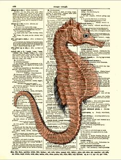 Dictionary Art Page, Seahorse Art Print, Antique Dictionary Page, Beach Decoration. $10.00, via Etsy.