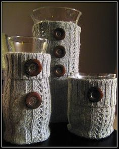 Sweater Covered Candle Holders by Wingledings