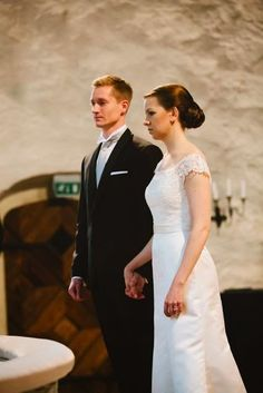 Real wedding in Finland. Dress made by Pukuni (www.pukuni.fi). Lace and satin wedding dress,