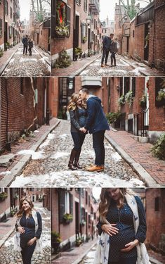 Beacon Hill Boston Winter Lifestyle Maternity Photography | Elizabeth Clark Photography | Couples and Bump Posing