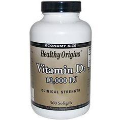 Healthy Origins, Vitamin D3, 10,000 IU, 360 Softgels