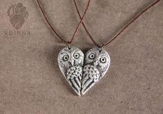 Valentine's Day Owl pair necklace best friends by KrinnaHandmade