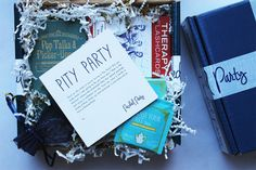 Packed Party is a Web based company founded in San Francisco, CA that allows you to send and receive themed party packages for one! Call them care packages, gifts, even a party in a box if you absolutely must. These perfectly packed navy packages are the ultimate thoughtful something to send to yourself or a friend for a birthday, break-up, a pick-me-up, you name it.