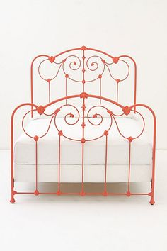 Antique vintage iron bed frame twin wrought iron scroll for How to paint a metal bed frame
