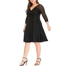 88520e486ce Plus-Size Solid Color Mesh Splicing Seven Points Sleeve Dress  33.09 USD  Occasion  Casual
