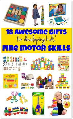 18 awesome gifts for developing kids' fine motor skills: toys that develop fine motor skills geared toward babies toddlers preschoolers and grade schoolers! Fine Motor Activities For Kids, Motor Skills Activities, Gross Motor Skills, Toddler Activities, Learning Activities, Stem Learning, Blended Learning, Therapy Activities, Toddler Preschool