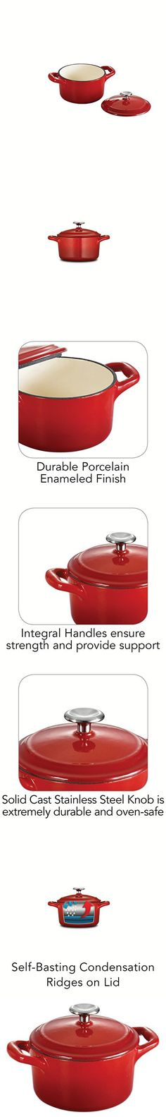Tramontina Enameled Cast Iron Covered Mini Cocotte, 10.5-Ounce, Gradated Red Cast Iron, It Cast, Dutch Ovens, Porcelain, Enamel, Stainless Steel, Mini, Cover, Red