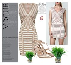 """""""Legerbabe Katina Striped Lacing Detail Dress"""" by legerbabedress ❤ liked on Polyvore featuring Valentino and Wander Beauty"""