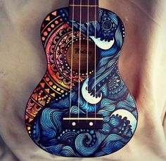 Beautifully painted ukulele ❤️ I want my guitar or violin painted like this Ukulele Art, Guitar Art, Cool Guitar, Guitar Tattoo, Acoustic Guitar, Ukulele Songs, Guitar Tips, Music Guitar, Hippie Style