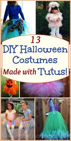 diy Halloween costumes with tutus. So many cute homemade girly costumes. Love the DIY princess and puppy costumes!