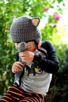 Kids or Adult Kitty Cat Crochet Earflap Hat and Tail Set Halloween Costume - Childrens Accessories by Julian Bean. $38.00, via Etsy.