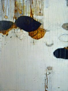 Dripped lines; shapes; white b/g with strong black/rust