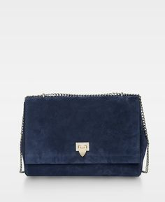 Big bag w. buckle and chain Suede navy - Bags Big Bags 6bfe8f30ac60a