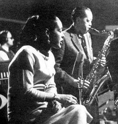 Billie Holiday and Lester Young 1957    from the famous tv special.  both would be dead shortly afterwards.  this session was televised, preserved on film as well as recorded and released on LP.  It is one of the defining documents of jazz.