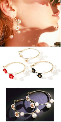 Hoop earrings with flower and pearl, make you charming and beautiful. All orders will arrive in a gift box. Perfect for gift giving!    #symmetricalEarrings #hoopearrings #studearrings #dangleearrings #uniqueearrings #cuteearrings #earrings2018 #fashionearrings #EarringForWomen\'s#GiftsForWomen #GiftsForHer #floralearrings #earrings #hypoallergenic