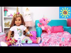 Baby Doll Bedroom with Unicorns & Rainbows! American Girl doll play dress up - YouTube