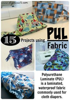 What is PUL fabric and 15 Sewing project ideas that use polyurethane fabric (PUL), a laminated and waterproof fabric commonly used for cloth diapers. Sewing Projects For Kids, Sewing For Kids, Diy Projects, Sewing Hacks, Sewing Ideas, Sewing Tips, Sewing Patterns, Sewing Tutorials, Scrappy Quilts