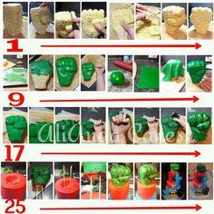 Hulk fist tutorial by AliAnda Cakes. Cake Decorating Techniques, Cake Decorating Tutorials, Cupcakes, Cupcake Cakes, Hulk Birthday Parties, 7th Birthday, Birthday Cake, Incredible Hulk Party, Hulk Cakes