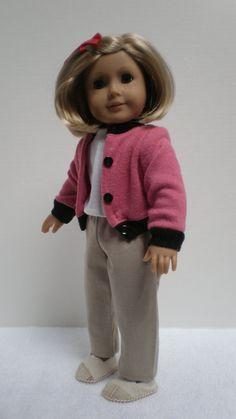 PINK & BLACK SWEATER American Girl 18 inch doll par dollupmydoll, $10.00