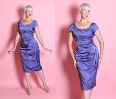 STUNNING 1950's Couture Rich Violet Purple Silk by butchwaxvintage