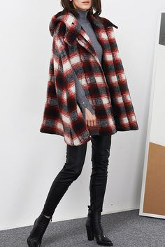 C+IMPRESS - Plaid Hooded Cape Coat