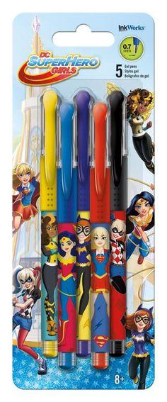 Gel Pens - 5 pk DC Super Hero Girls