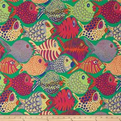 Designed by Kaffe Fassett for Westminster, this cotton print fabric is perfect for quilting, apparel and home decor accents. Colors include blue, yellow, fuchsia, orange, brown, grey, and shades of green.