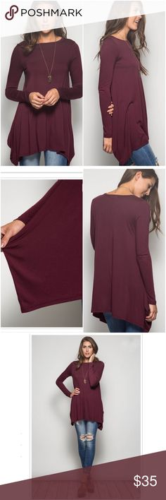 Spotted while shopping on Poshmark: 🆕LISTING! NWT Burgundy/Wine Long Sleeve Tunic Top! #poshmark #fashion #shopping #style #Tops