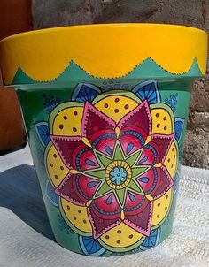 Result of image for painted pots Painted Clay Pots, Painted Flower Pots, Hand Painted, Clay Pot Projects, Clay Pot Crafts, Clay Flower Pots, Flower Pot Crafts, Pottery Painting, Diy Painting